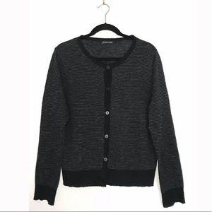 Eileen Fisher Striped Black Gray Cardigan Sweater